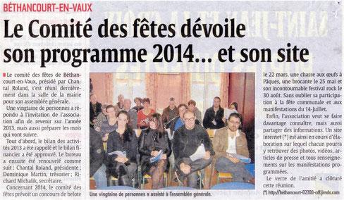 """Article et Photo : l'Aisne Nouvelle & Comité des Fêtes de Béthancourt-en-vaux. Contrairement à ce qui est écrit dans l'article de presse, le """"bureau"""" n'a pas été renouvelé."""