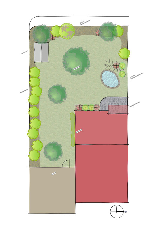 kleiner Garten Gartendesign Reihenhausgarten Celle Teich Gartenplanung