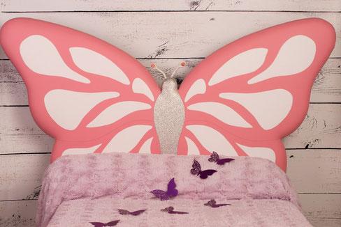 rêves en tête-tête de lit originale artisanale chambre enfant papillon