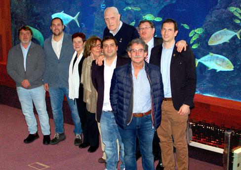 La poderosa delegación de Askatuak, de izquierda a derecha: Borja Gasca, Joan Quesada, MarijoseQuevedo,Marisol Zubillaga, Alvaro Hernández y Txuma Zumalde; y detrás, Segun Azpiazu, Iñaki Almandoz y Aitzol Almandoz.