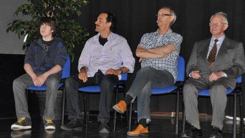 Sandro Rossi (15), Nicola Albergatti, René Lässer, Heini Zwicky (92) at the 75th National Film Festival 2010 at the Movie World cinema in Spiez.