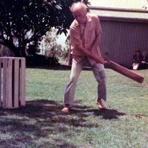 Francis Brabazon playing cricket  in the 70s at Avatar's Abode, Queensland