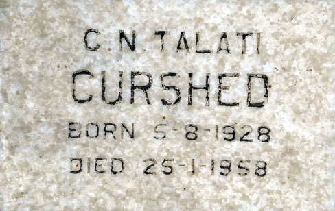 Curshed's grave marker at Lower Meherabad, India