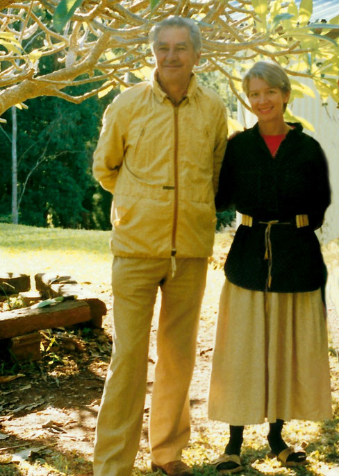 1988 : Bill & Diana Lepage at Avatar's Abode, Queensland, Australia. Photo taken by Anthony Zois.
