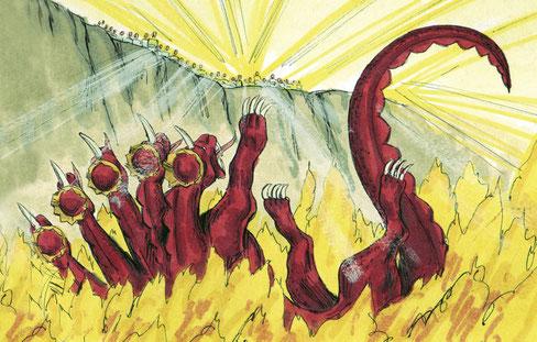 Et le diable, qui les séduisait, fut jeté dans l'étang de feu et de soufre, où sont la bête et le faux prophète. Et ils seront tourmentés jour et nuit, aux siècles des siècles. Ceux qui reçoivent la marque de la bête seront tourmentés dans le feu.
