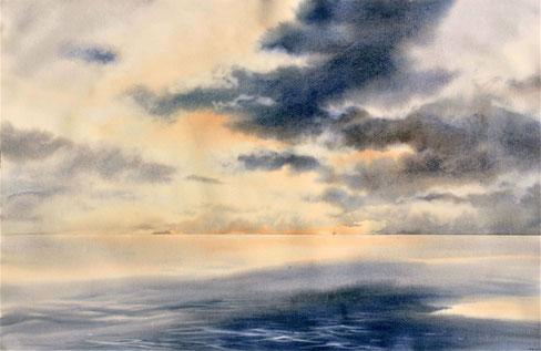 """""""Nel ciel che più della sua luce prende"""" - watercolor pure on paper Arches hot pressed cm 66 x 102,5"""