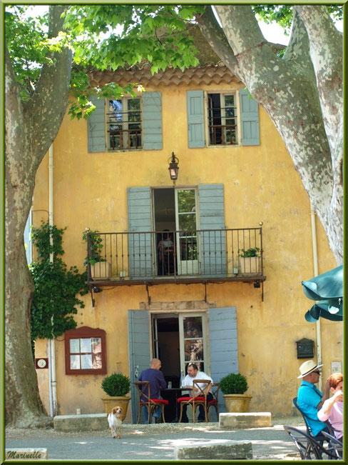 Un des cafés restaurants avec sa terrasse ombragée autour de l'étang (plan d'eau) au coeur du village de Cucuron, Lubéron (84)