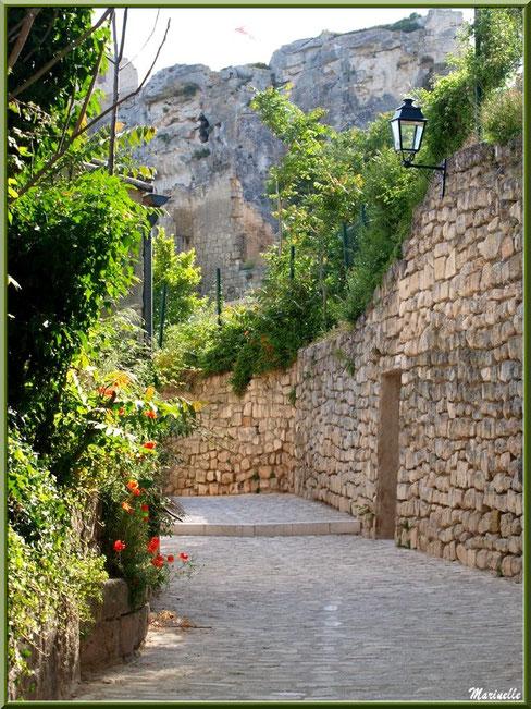 Ruelle verdoyante et fleurie en contrebas du Château des Baux, Baux-de-Provence, Alpilles (13)