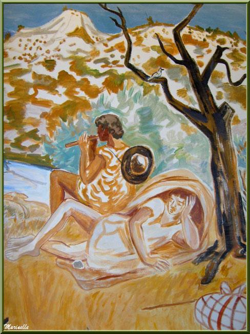 Chapelle des Pénitents-Blancs, Les Baux-de-Provence, Alpilles (13) : une des fresques murales d'Yves Brayer