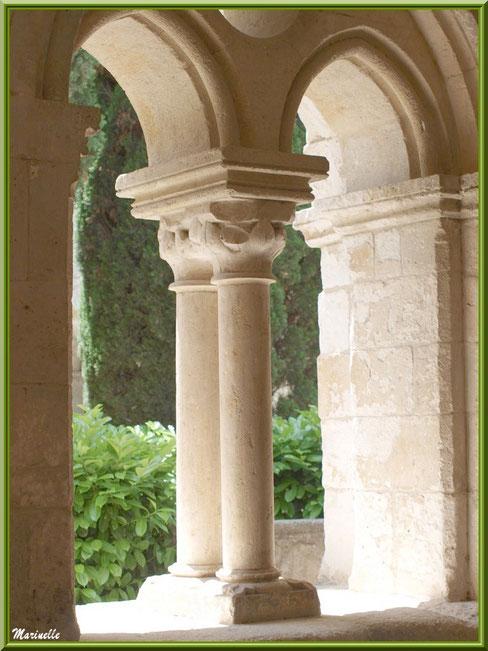 Une des baies du cloître de l'abbaye de Silvacane avec vue sur le jardin intérieur, Vallée de la Basse Durance (13)