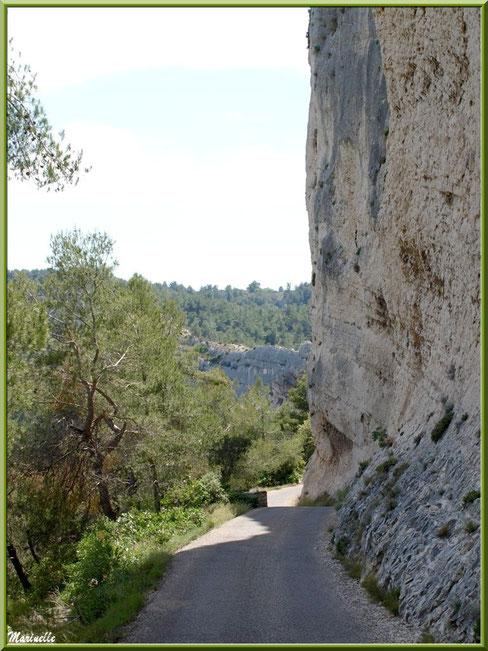 L'étroite route en redescendant à la chapelle Notre Dame de Beauregard, village d'Orgon, entre Alpilles et Lubéron (13) : à droite, les falaises et, à gauche, la Vallée Heureuse