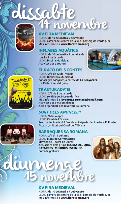 Programa de la Festa Major de Lloret de Mar 2015