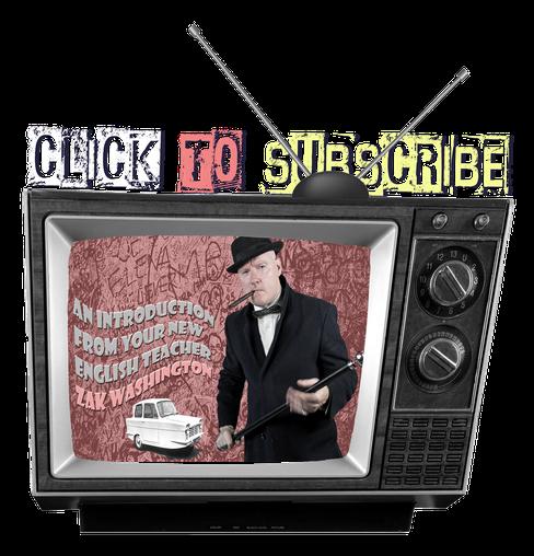 ZakWashington on a vintage TV. Learn English with ZakWashington