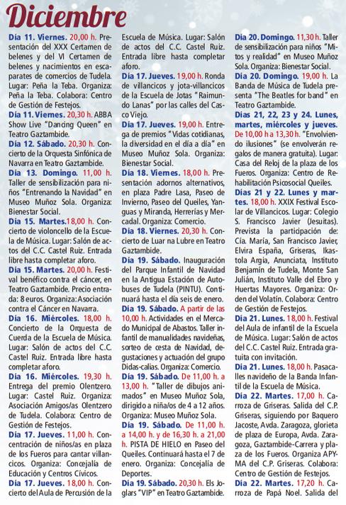 Programa de las Fiestas de Navidad en Tudela