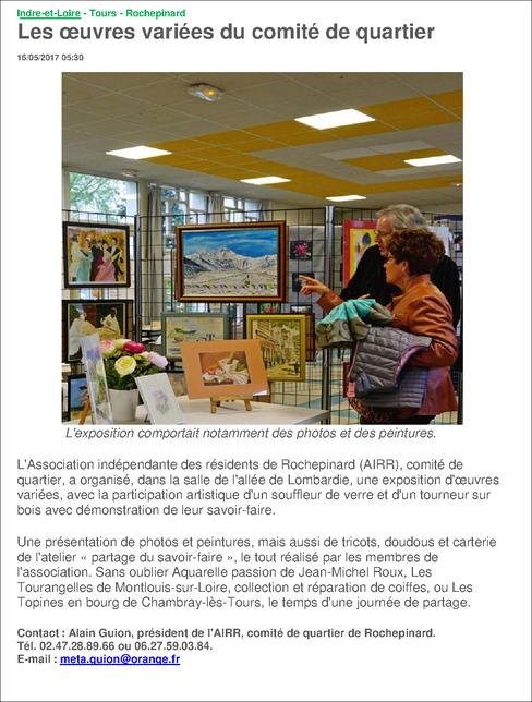 Expo photos, peinture , et artisanat dans notre local  le 7 mai 2017