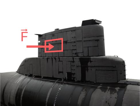 Beispiel für den Druck des Wassers auf ein U-Boot