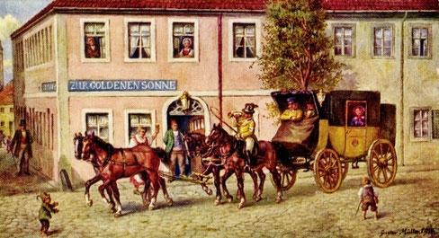 Sächsischer Postwagen 1846 kurz vor Ablösung durch die Eisenbahn