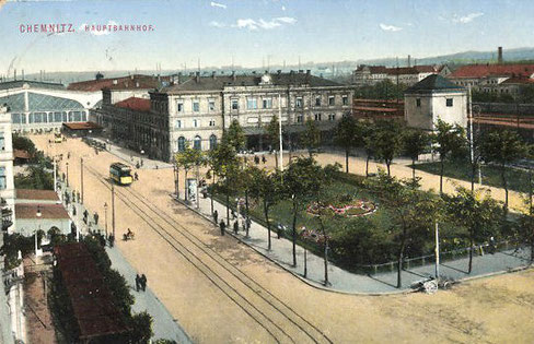 Der Chemnitzer Hauptbahnhof und die Albertstraße 1912