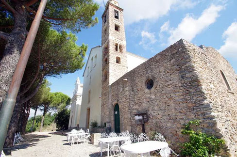 The Church of San Martino and the restaurant with panoramic view