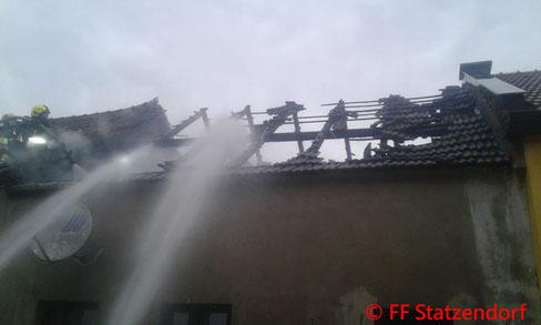Feuerwehr; Blaulicht; FF Statzendorf; Brand; Dachstuhl; Großhain;