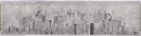 Edgar Honetschläger, sfondo  (4x16m, inchiostro su tela). Courtesy the artist and Zetema