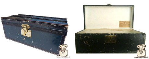 Plain flower trunk. Much less sought after but which has the merit of existing.  Around 1920  Dark blue canvas, model without clasp. Dimensions: 24cm x 11.5cm x 9.5cm