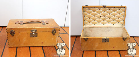 Yellow Vuittonite flower trunk Extremely rare produced around 1910 Exterior: yellow vuittonite canvas Interior: canvas