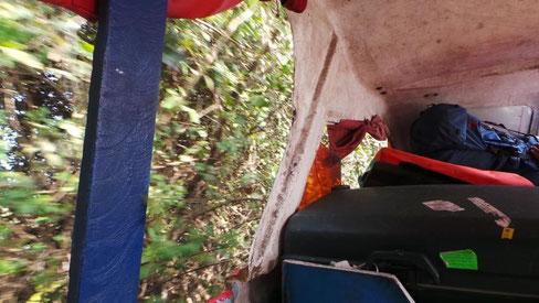 ...das Boot in voller Fahrt mitten durchs Gestrüpp / die Vorhänge - abgerissen!