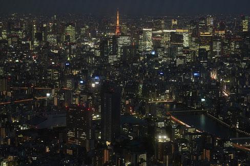 Tokio bei Nacht vom Tokio Skytree aus