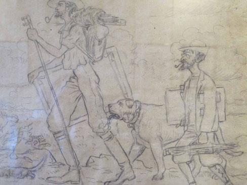 Caricature du Grand Alphazar Lacombe et du Prince Sorcier Ranson (1905), Georges Lacombe