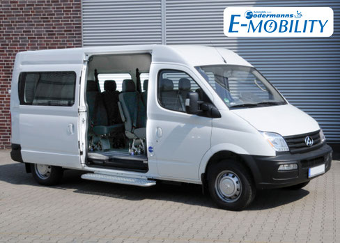 behindertengerechter Mogeok Maxus EV 80 Elektrofahrzeug Beifahrerumbau, Hecklift, Smartfloor, Smartseats, Sodermanns