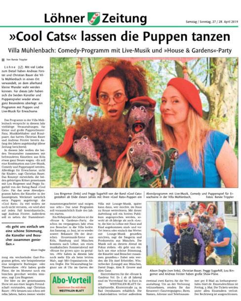 Lou Goldstein und Peggy Sugarhill von THE COOL CATS, im gemeinsamen Pressebericht mit THE COOL RATS aus Löhne.