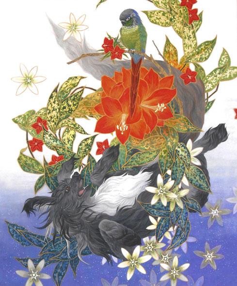 「緑の天体観測」 F20 麻紙・膠・岩絵の具・墨・金泥・金箔 【アマリリス(騎士の星)、オオアマナ(ベツレヘムの星)、星千年木、縷紅草】