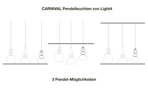 Beratung - Pendelmöglichkeiten der CARNIVAL Glasleuchten von Light4