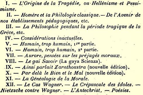 Projet en douze volumes annoncé dans le Mercure de France en avril 1899
