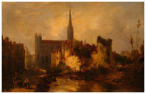 Vue de l'église Saint-Pierre et de l'Odon - William Fowler (1841) Photographie par Fabos — Musée des Beaux Arts de Caen