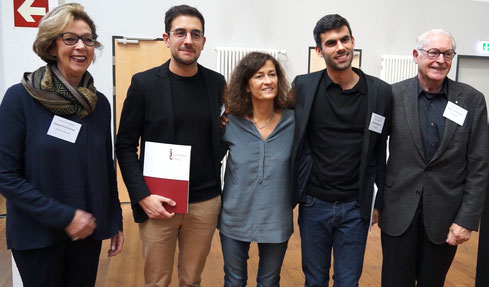 f.l.t.r. Marja Kretschmar (Camerata Nuova), Alberte Beltrame (1th Prize, stage design), Barbara Minghetti (Jury), Andrea Bernhard (1th Prize, director), Armin Kretschmar (Camerata Nuova)