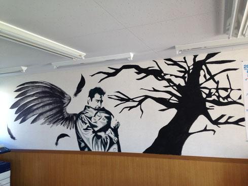 壁画現る!壁一面を使ったアートです