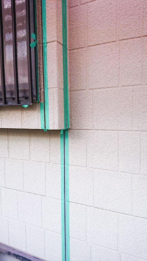千葉市花見川区 外壁塗装、屋根塗装工事 コーキングの打ち替え