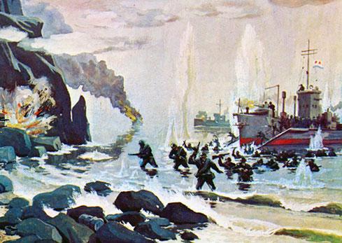 Высадка морского десанта на остров Шумшу. Художник Г.А. Сотсков