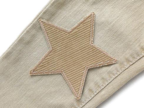 Bild: Cordflicken Stern, Stern Bügelbild aus hellbraunem Baumwollcord, Bügelflicken Cordstoff