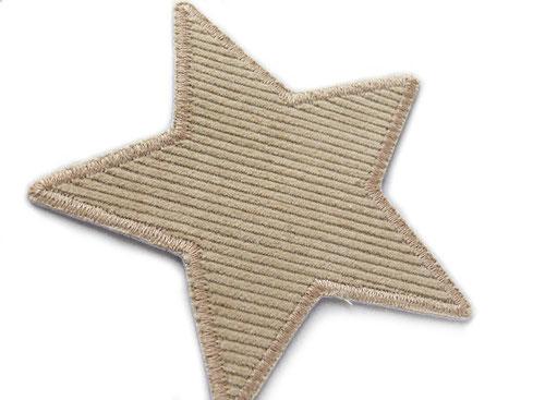 Bild: Hosenflicken für Cordhosen, Cordflicken hellbraun, Stern Bügelflicken Cord