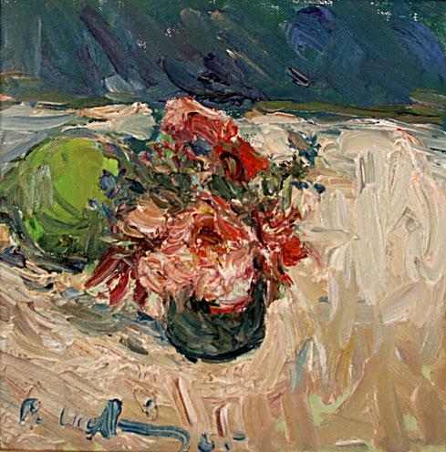 Rosen mit Apfel   2005, Öl auf LW,  25 cm x 25 cm