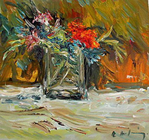 Blumenstrauß vor Braun   2012, Öl auf LW, 39 cm x 41 cm