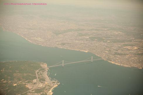 飛行機からの明石海峡大橋