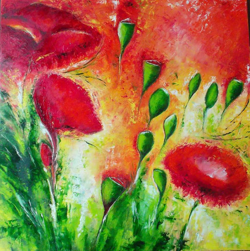 Poppies - Öl / Acryl auf Leinwand - 90 x 90