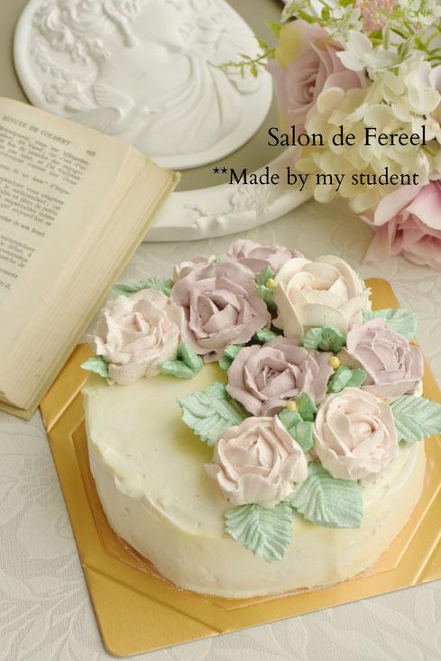 フラワーケーキ  大阪 ケーキ 教室 習い事 スイーツ 田中聖子 ケーキ教室 お菓子教室 スウィーツ