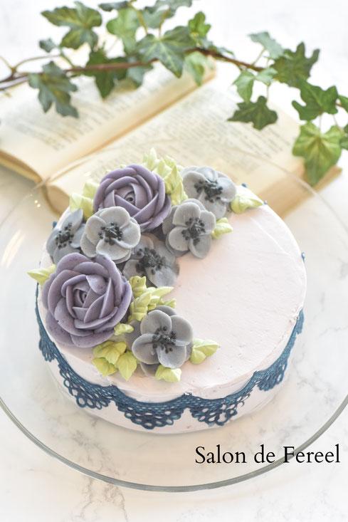 フラワーケーキ カービング 習い事 大阪 レッスン ケーキ作り ケーキ教室 お菓子教室 バタークリーム デコレーションケーキ