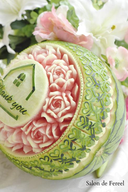 カービング スイカ 彫刻 誕生日 結婚式 メロン フルーツカービング 教室 大阪 薔薇 ソープカービング プレゼント オーダー