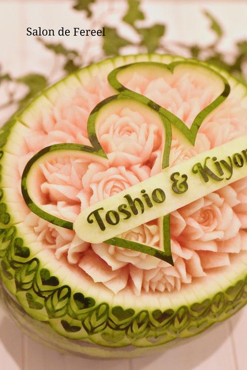 カービング スイカ 彫刻 誕生日 結婚式 メロン フルーツカービング 教室 大阪 薔薇 ソープカービング プレゼント オーダー お祝い